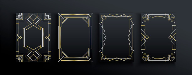 Abstract gold black art deco frame template set Fotomurales