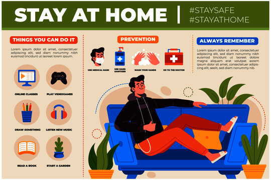 stay at home to protect against Coronavirus design illustration infographic