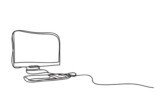 computer and coffee cup ,line drawing style, , vector design