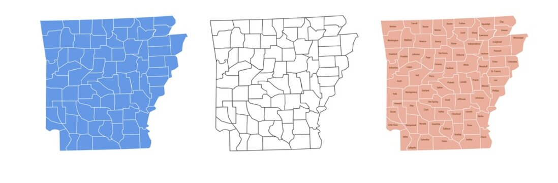 Arkansas Map Vector Set With Counties Name and Border Boundaries Black Silhouette and Outline Isolated on White