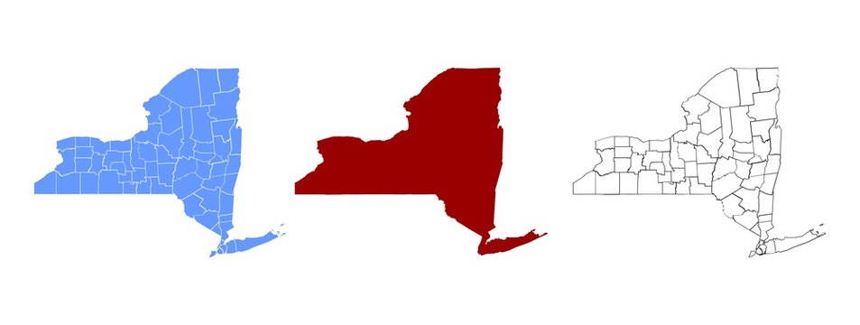 New York Administrative Map - Blank map of New York State With Border Boundaries Editable Vector EPS