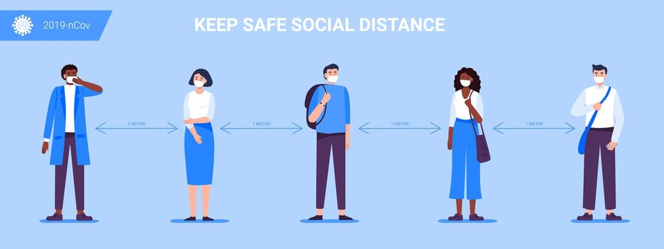 Social Distancing. People keep a distance for infection and disease, wearing a surgical protective medical mask to prevent virus Covid-19. Health care concept. Vector illustration.