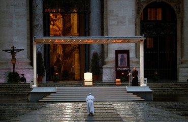 Pope Francis delivers an extraordinary blessing from St. Peter's Square during the outbreak of coronavirus disease (COVID-19), at the Vatican