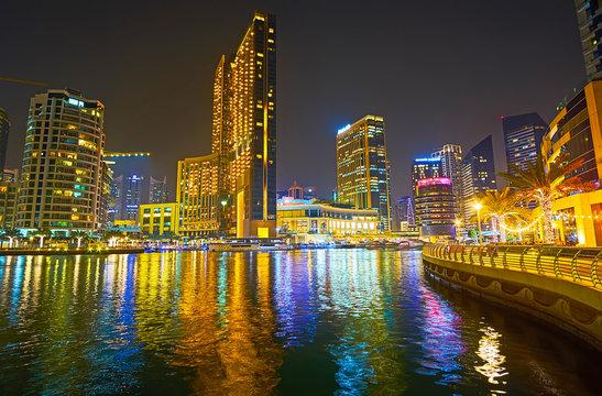 Romantic evening in Dubai Marina, on March 2, 2020 in Dubai, UAE