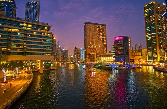 Evening in Dubai Marina, on March 2, 2020 in Dubai, UAE