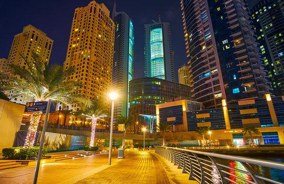 Evening walk along Marina Promenade, Dubai Marina, on March 2, 2020 in Dubai, UAE