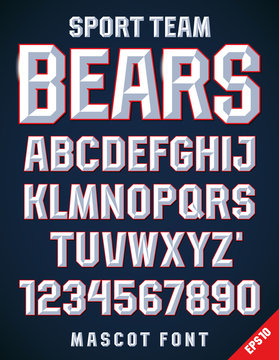 Classic style Sport Team font, metallic beveled alphabet and numbers. Upper case. Vector illustration.