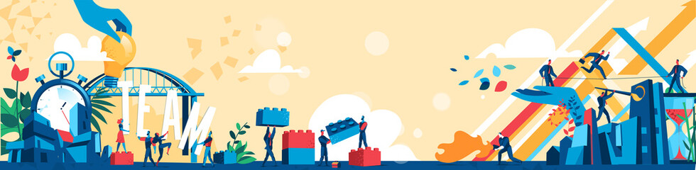 Uomini d'affari collaborano per raggiungere gli obbiettivi economici