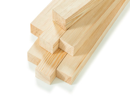 seven square wooden beams timber wood stack isolated