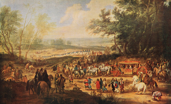 Departure of Louis XIV king of France to the Vincennes castle, residence of French kings before Versailles.