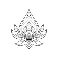 Ethnic Mandala ornament isolated on white background. Henna tattoo design. Vector illustration