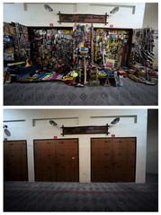 A combination picture shows tools displayed at a shop and the shops closed in Isa Town, south of Manama