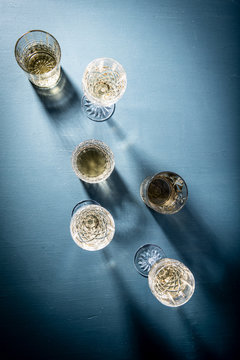 White Wine on Blue