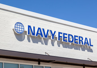 Charleston, South Carolina, USA - February 28, 2020: Sign of the Navy Federal bank branch in Charleston, South Carolina, USA, the largest natural member credit union in the United States.
