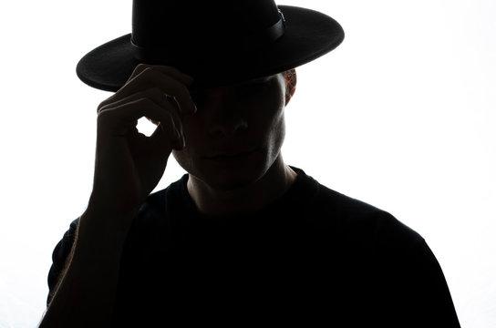 Upper body man silhouette. White background.