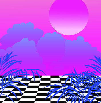 Surreal vaporwave landscape with chessboard floor and sunset above it.