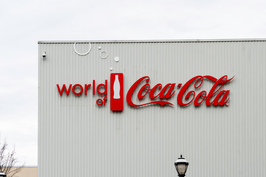 Atlanta, Georgia, USA - January 17, 2020: Sign of World of Coca-Cola in Atlanta, Georgia, USA. The World of Coca-Cola is a museum showcasing the history of The Coca-Cola Company.