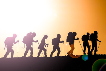 mountaineering activity, ambitious people and walking program together