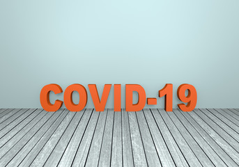 "Roter 3D Text ""Covid-19"" auf grauem Holzboden mit Textfreiraum.  3d rendering"