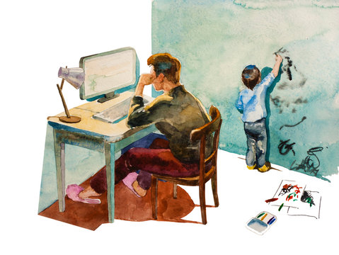 Yong mom, sitting back to watcher, working in her home offise when her small creative son drawing with markers on the wall. Original watercolor illustration of working and parenting