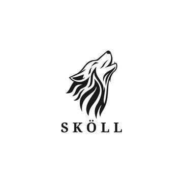 skull wolf logo vector silhouette