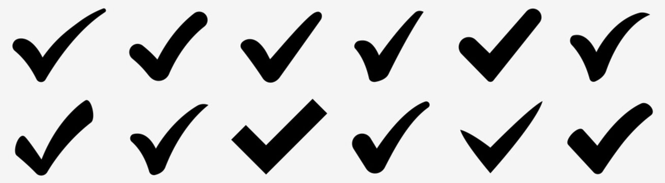 Check mark icons set. Check marks symbol collection. Simple check mark. Quality sign icon. Checklist symbols. Approval check flat style - stock vector.