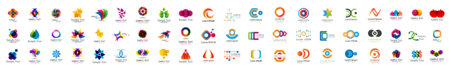 Abstract Logo And Icon Set. Elements Collection Isolated On White - Vector. Flat Icons For Business Template Logo, Square Elements, Website, Business Symbol And Circle Elements. Abstract Medical Logo Wall mural