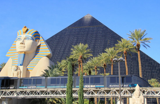 LAS VEGAS, USA - MARCH 19: Luxor hotel and casino and Mandalay Bay tram on March 19, 2013 in Las Vegas, USA. Las Vegas is one of the top tourist destinations in the world.