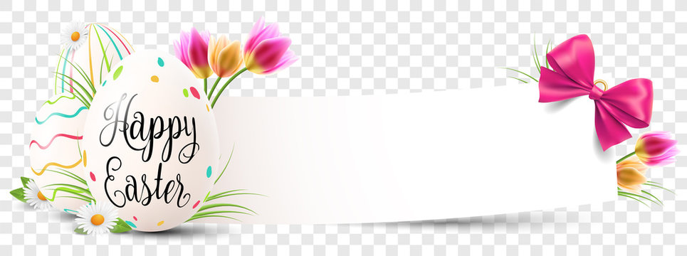 Happy easter paper banner with easter eggs and flowers transparent isolated