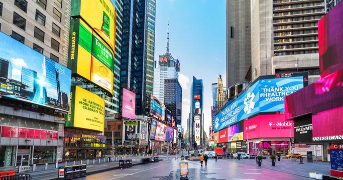 Times Square, New York City during Coronavirus, covid-19 pandemic Lockdown