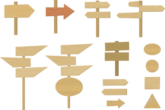 Vector illustration of various wooden standing arrows, signboard and signposts.