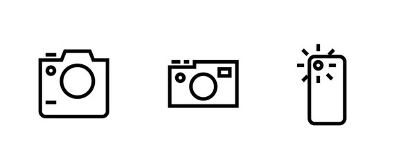 Set photo and video camera icon. SLR, Digital Pro and Telephone Camera sign. Editable Vector Outline.