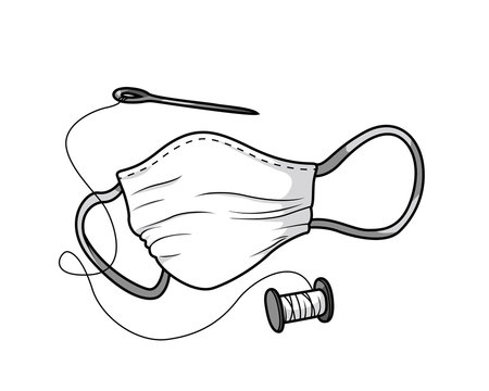 Hand-sewn face mask for protecting health - black and white
