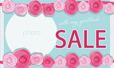 母の日や結婚式やセールのカードやバナーに使いやすいガーリーなバラの花 place for your text Wall mural
