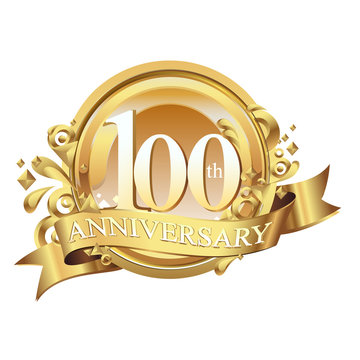 100 years golden anniversary logo celebration with ring and ribbon