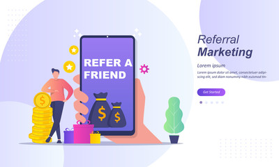 Refer A Friend Concept Design, Customer referral, People share info about referral and earn money. Suitable for web landing page, ui, mobile app, banner template. Vector Illustration