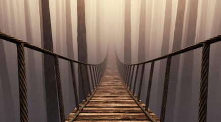 Zelfklevend Fotobehang Diepbruine Suspension bridge