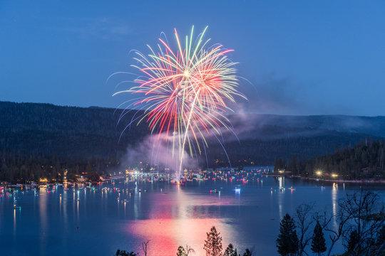 Fireworks over Bass Lake
