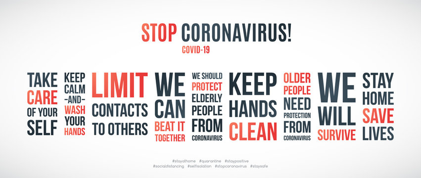 COVID-19 quotes set to prevent the spread of coronavirus. Quarantine and self-isolation. Stay Home Stay Safe. Limit contact to others. Prevention the spread of Coronavirus. Stock vector illustration.