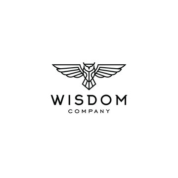 hipster owl logo line linear style vintage thin outline