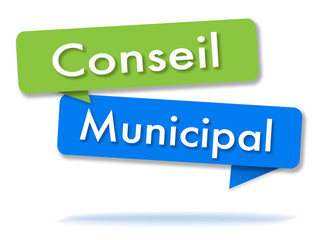 Municipal council in colored speech bubbles and french language