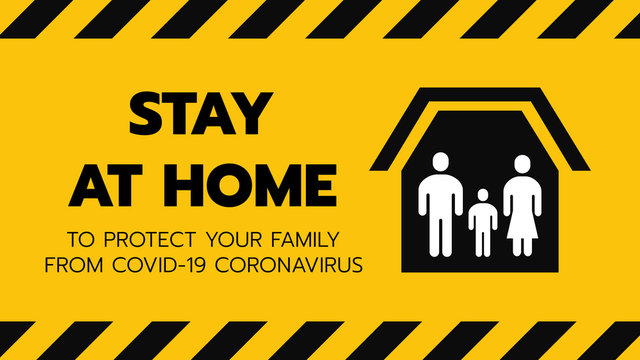 Vector of Shelter in Place or Family Stay at Home or Self Quarantine Yellow Background Sign with Tape. To Control Coronavirus or Covid 19 Spreading Infection by Government Policy. 16:9 Ratio. EPS 10.