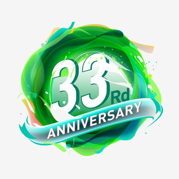32 years Anniversary logo with colorful abstract background, vector design template elements for invitation card and poster your birthday celebration.