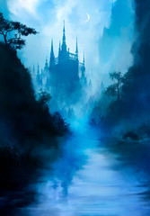 Poster Blauw A beautiful fairytale landscape with a river in the foreground, and a huge tall castle in the distance, with many towers, it is shrouded in fog, we see a crescent moon in the sky. 2d