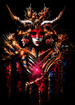 An ominous carnival mask with horns and many small details, her eyes are empty and black like an abyss, she has a lot of gold jewelry on it. A pink heart shines in the ribs of this creature. 2d