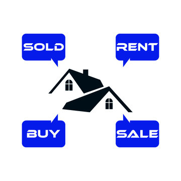 Buy house, Rent house, Sold House, Sale house. House icon or logo