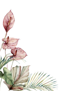Watercolor tropic card with anthurium and palm leaves. Hand painted frame with flowers and plant isolated on white background. Floral illustration for design, print, background. Invitation template.