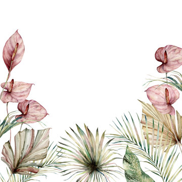 Watercolor tropic border with anthurium and palm leaves. Hand painted frame with flowers and plant isolated on white background. Floral holiday illustration for design, print, background.