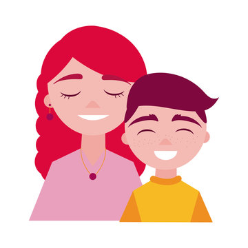 mother day mom and son characters flat style