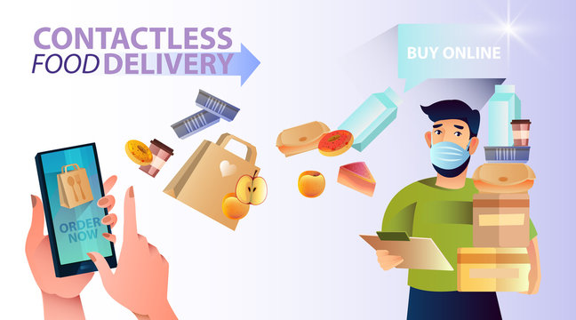 Contactless food delivery banner with bearded male character in mask, smartphone, fruit, milk, food containers, boxes, coffee cups and eco paper bags. Fast and safe online shopping concept